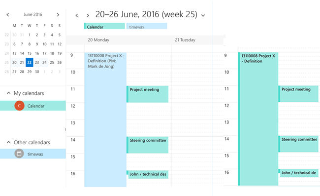 A screenshot of planning in a calendar