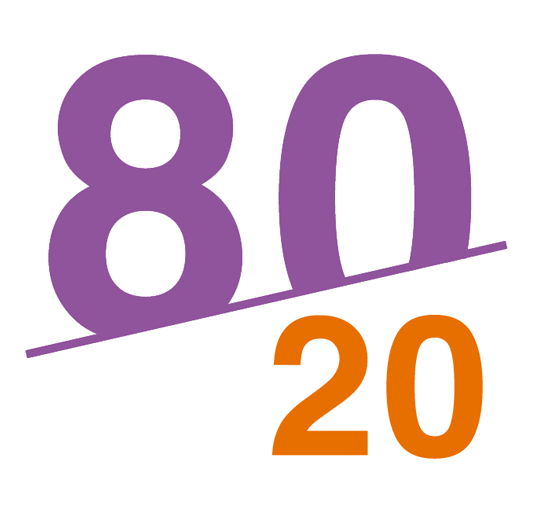 An illustration of the 80 - 20 rule