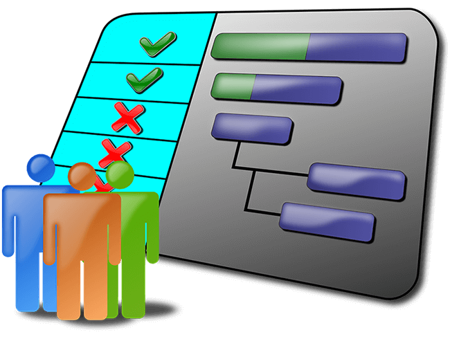 An illustration of characters standing in front of a Gantt Chart