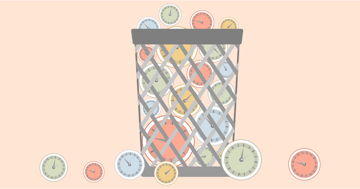 An illustration of a trash bin filled with different colours of clocks