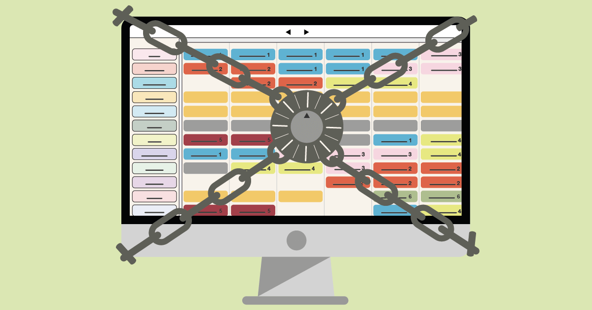 An illustration of a computer displaying a digital planning board with a big lock securing the data on the computer.