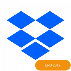 The logo of Dropbox with an end 2019 badge