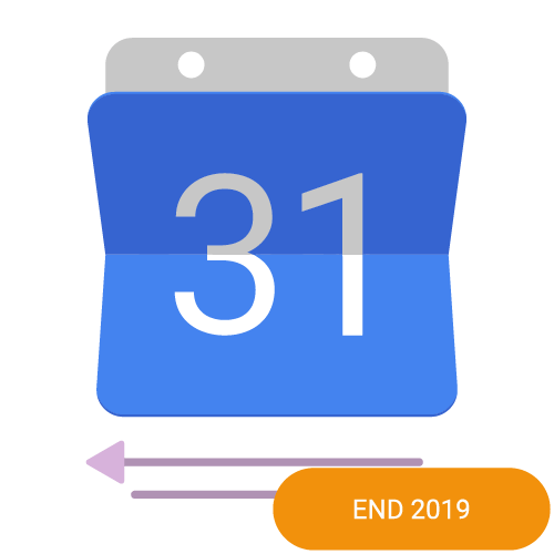 The logo of the Google Calendar 2 way sync calendar integration with an end 2019 badge