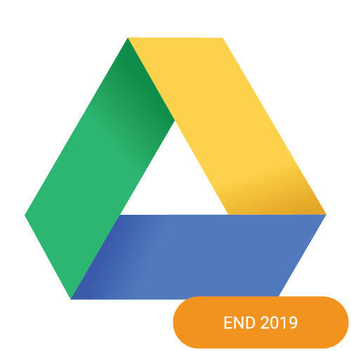 The logo of Google Drive with an end 2019 badge