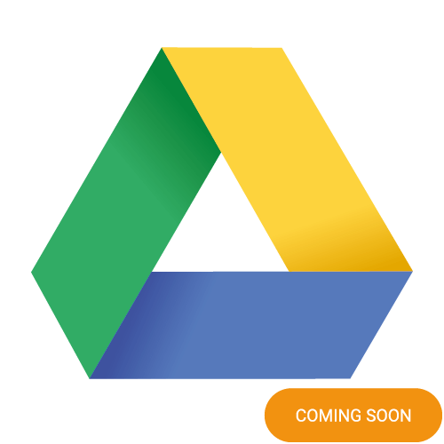 The logo of Google Drive with a coming soon badge