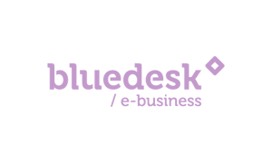 The purple logo of online IT company Bluedesk