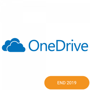 The logo of Microsoft OneDrive with a end 2019 badge