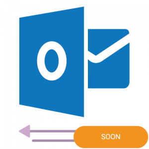 The logo of the Microsoft Outlook 2 way sync calendar integration with a coming soon badge