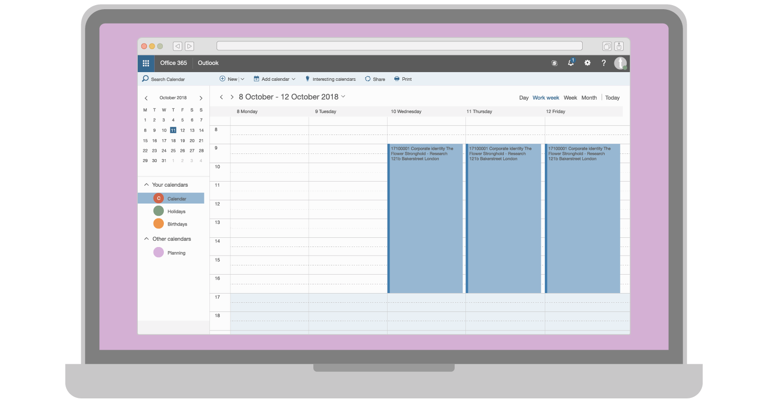 An illustration of a browser window with various project bookings in Microsoft Outlook