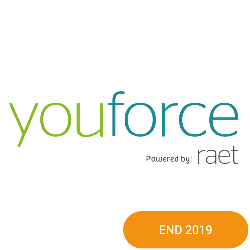 The logo of Youforce with an end 2019 badge