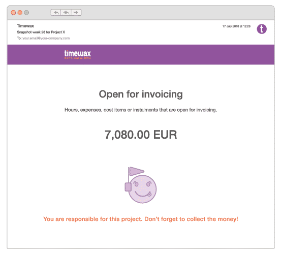 An illustration of the project snapshot displaying the open invoices.