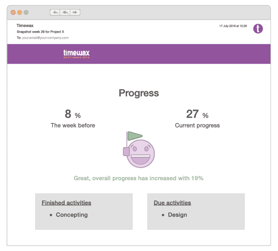 An illustration of the project snapshot displaying the overall progress of projects