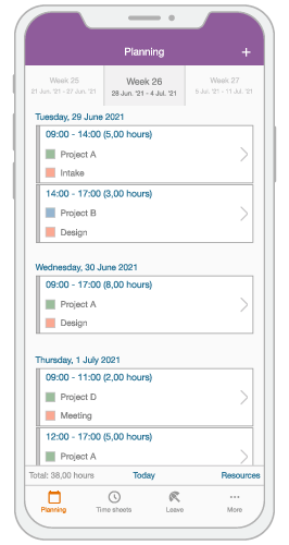 An illustration of smartphone with a project planning on its display.