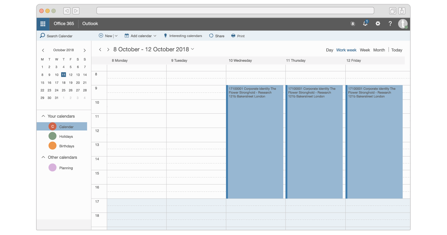 An illustration of project bookings in Microsoft Outlook