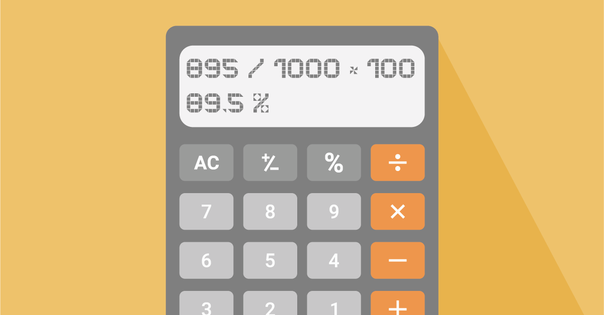 An illustration of a calculator that's calculating the capacity utilization