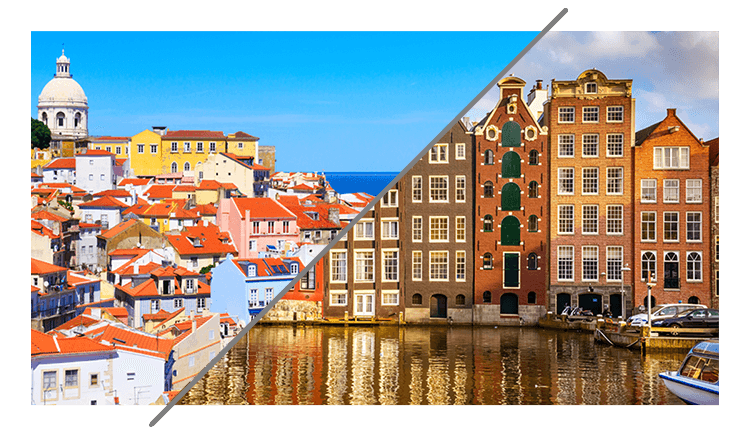 A shared image of Amsterdam and Lisbon, two cities where Timewax has an office.