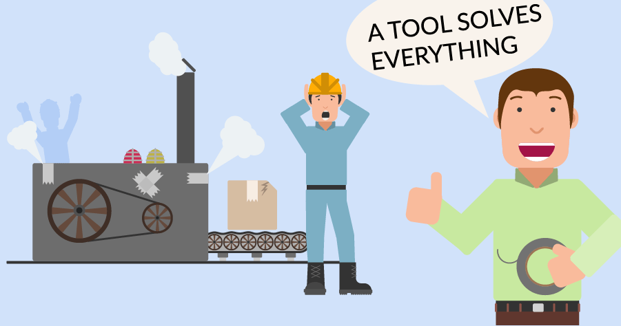 An illustration of a character saying that everything can get solved with a tool, while other characters are screaming in the background next to a machine that's about to explode.