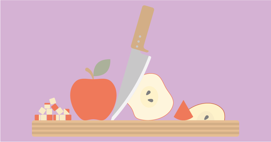An illustration of a cutting board, pieces of an apple and a knife