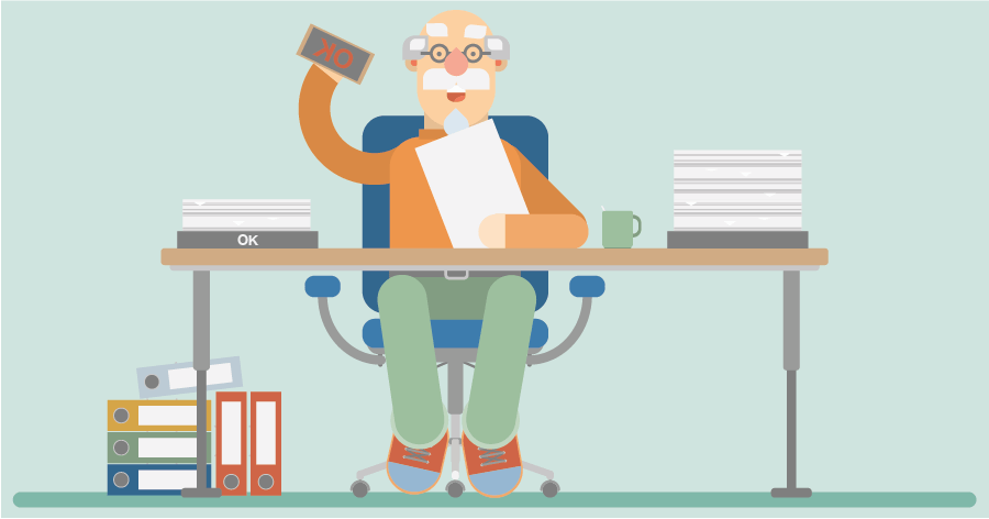 An illustration of a character sitting behind a desk approving time sheets with a big stamp
