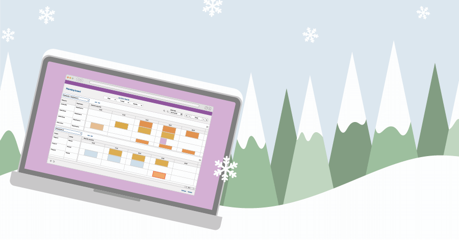 An illustration of a laptop laying in the snow with a digital planning board on its screen.