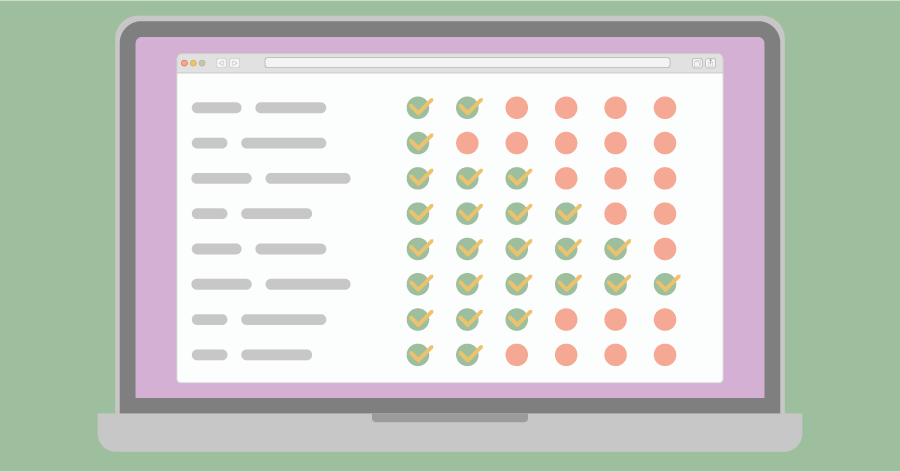 An illustration of a laptop with an overview of completed and uncompleted tasks of a project on its screen.