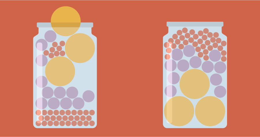 An illustration of two jars filled with ball shaped objects