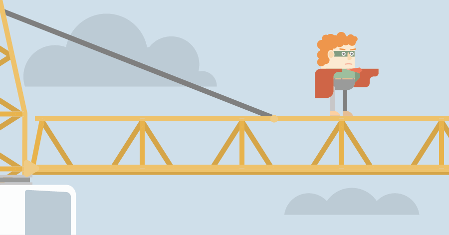An illustration of construction project manager standing on top of a construction crane.