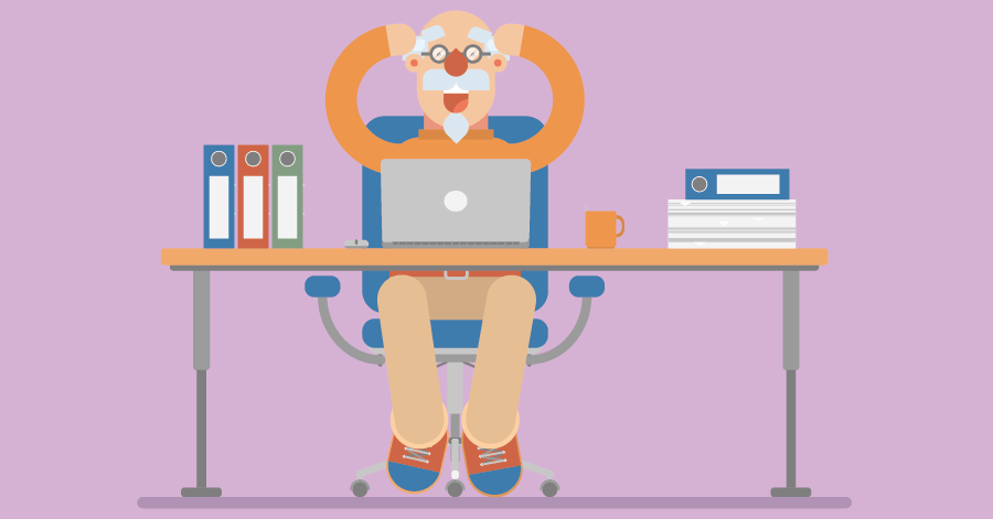 An illustration of a man sitting anxiously behind a desk while looking at his laptop