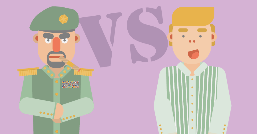 An illustration of two characters, one in a military uniform and one in regular clothing.