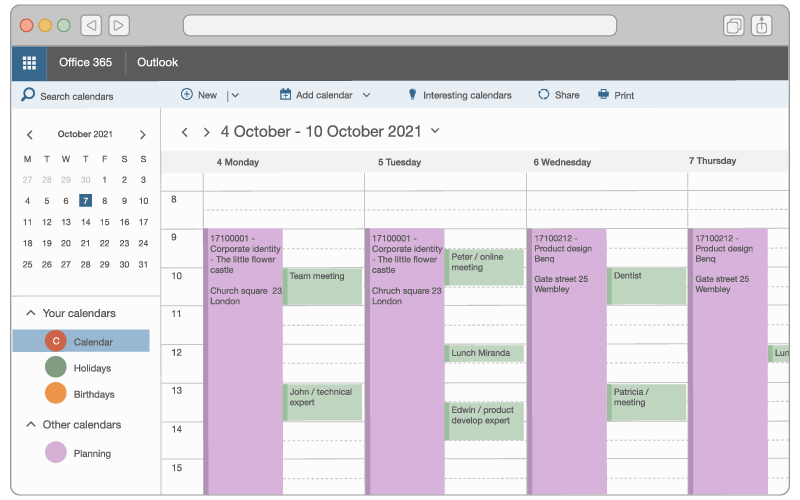 An illustration of a consultant's schedule in Outlook