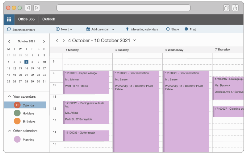 An illustration of a technician's schedule in Outlook